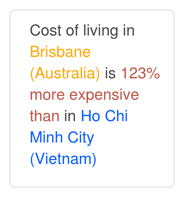 Cost of Living Comparison between Brisbane and Ho Chi Minh City.