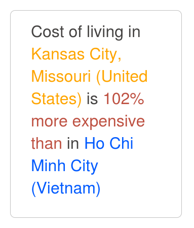 Cost of Living Comparison between Kansas City, Missouri and Ho Chi Minh City.