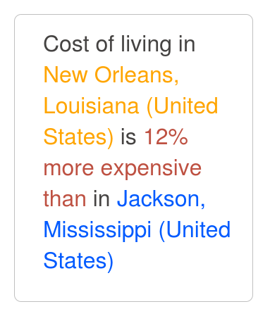 New Orleans Louisiana Is 6 More Expensive Than Jackson