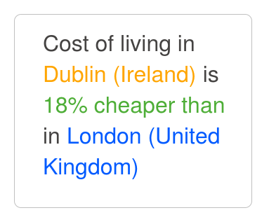 Dublin Is 11 Cheaper Than London Nov 2018 Cost Of Living