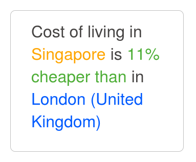 cost of living in singapore 2013