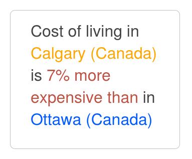 cost living comparison ottawa calgary 2020