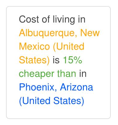 albuquerque new mexico is 18 cheaper than phoenix arizona apr 2019 cost of living. Black Bedroom Furniture Sets. Home Design Ideas