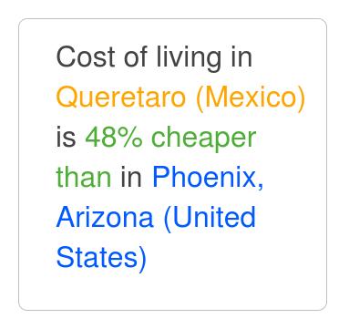 Queretaro Is 45% Cheaper Than Phoenix, Arizona. Sep 2017 Cost Of Living.