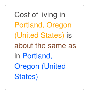 compare and contrast portland or and You would need around 4,86960$ in portland, or to maintain the same standard of life that you can have with 5,10000 $ in chicago, il (assuming you rent in both cities) ) this calculation uses our cost of living plus rent index to compare cost of l.