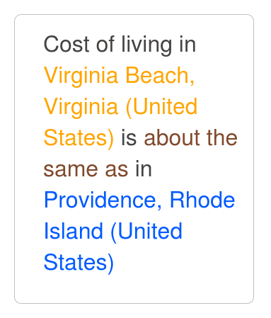 Virginia Beach Cost Of Living Comparison